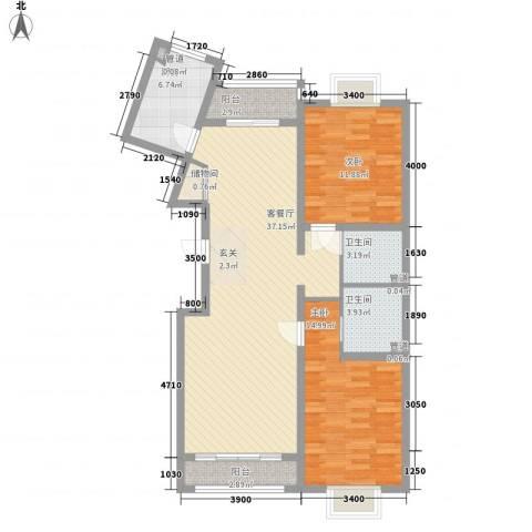 绿海印象2室1厅2卫1厨117.00㎡户型图