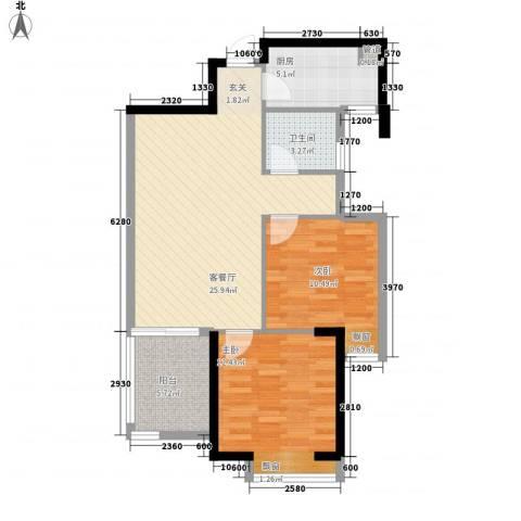 拓基沃野花园2室1厅1卫1厨84.00㎡户型图