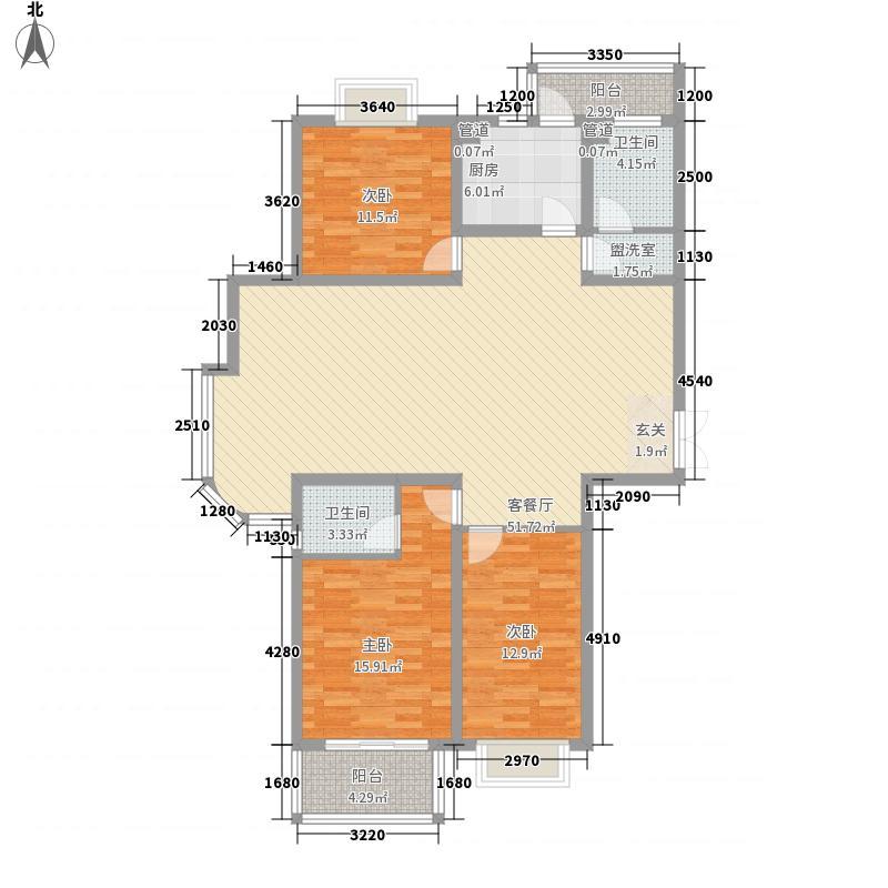 康大风和日丽163.20㎡标准层三居室户型3室2厅2卫