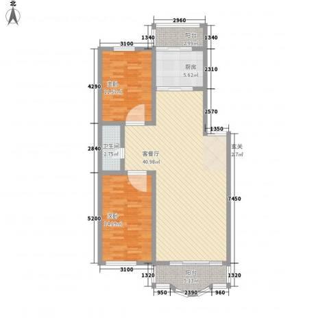 鑫丰金园2室1厅1卫1厨108.00㎡户型图