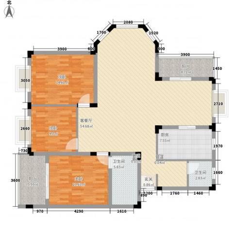 康城水云间3室1厅2卫1厨168.00㎡户型图