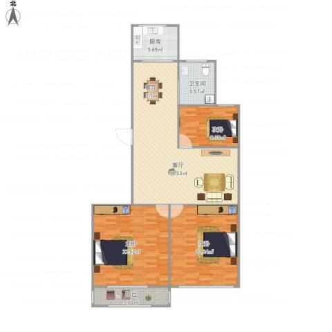 新百花园3室1厅1卫1厨139.00㎡户型图
