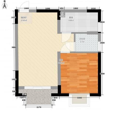 隆盛福隆花园1室1厅1卫1厨42.66㎡户型图