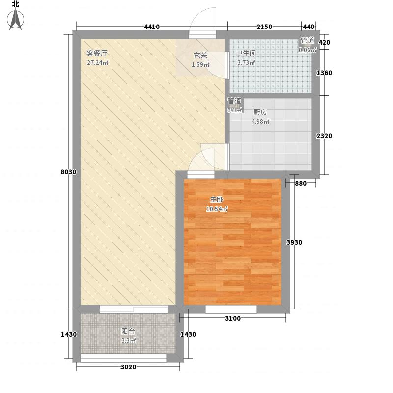 金山财富广场73.68㎡一期2号楼C户型1室1厅1卫1厨