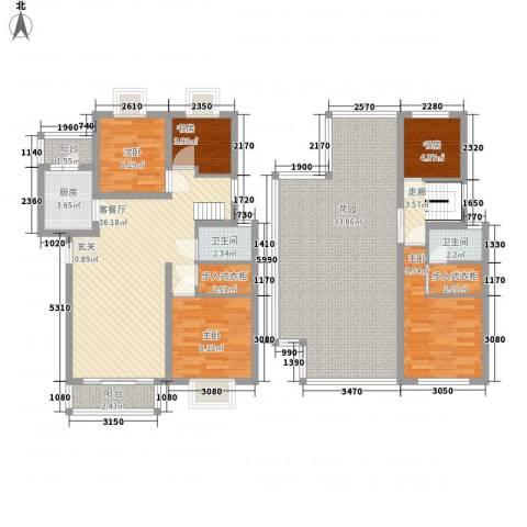 美洲花园E区2期5室1厅2卫1厨164.00㎡户型图