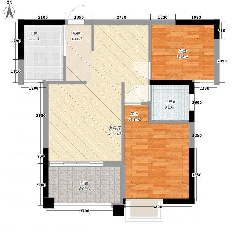 尚悦名庭82.18㎡5幢标准层03户型2室2厅1卫1厨