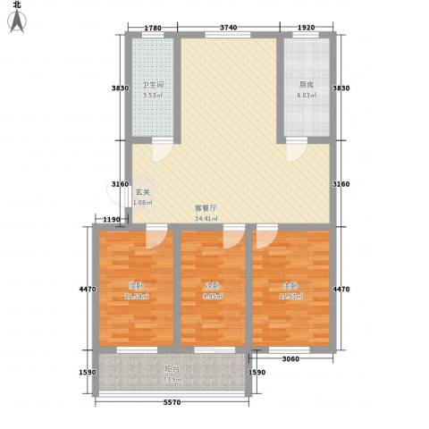 祥和花园3室1厅1卫1厨124.00㎡户型图