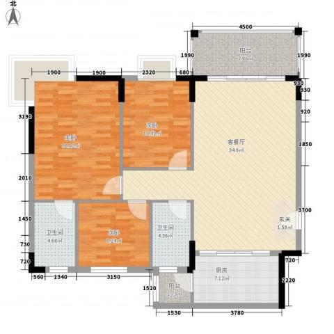 宏新富苑3室1厅2卫1厨115.00㎡户型图