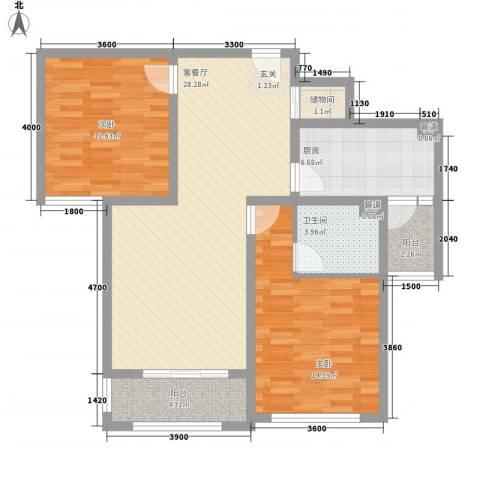 海情丽都2室1厅1卫1厨73.75㎡户型图