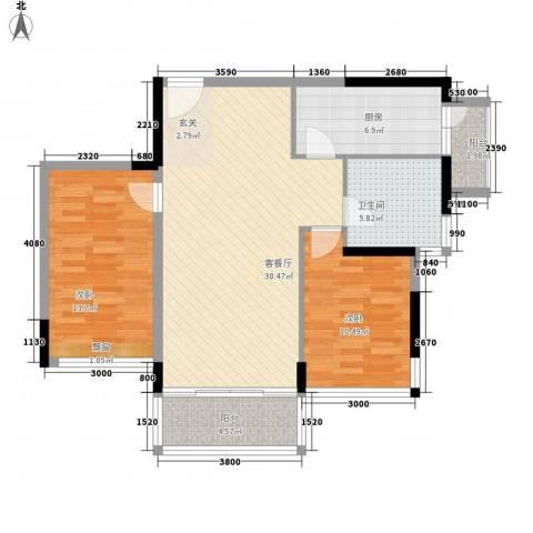 银湖山庄2室1厅1卫1厨73.92㎡户型图