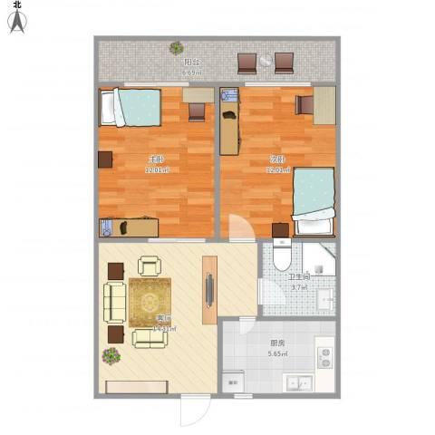 福阳街2室1厅1卫1厨74.00㎡户型图