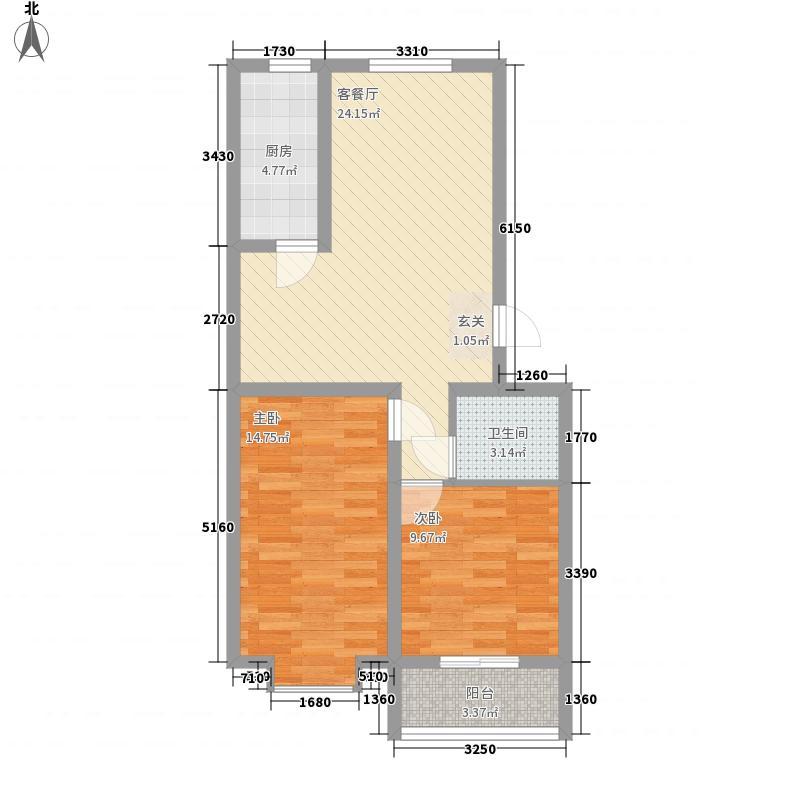 祥和花园86.10㎡户型2室2厅1卫1厨