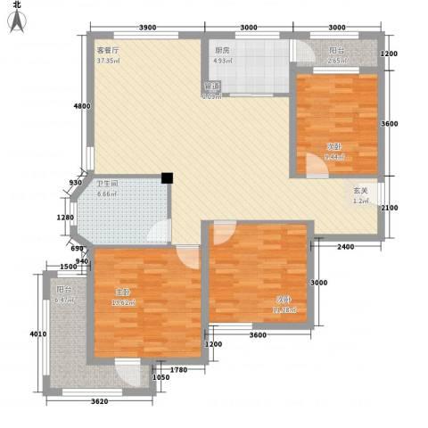 海情丽都3室1厅1卫1厨117.00㎡户型图