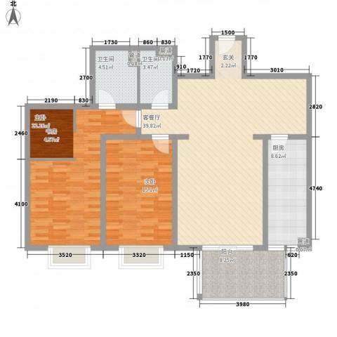 城市假日2室1厅2卫1厨146.00㎡户型图