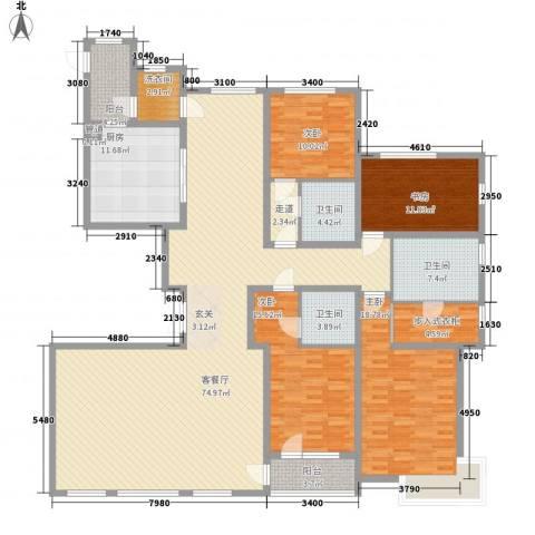 华发首府4室1厅3卫1厨251.00㎡户型图