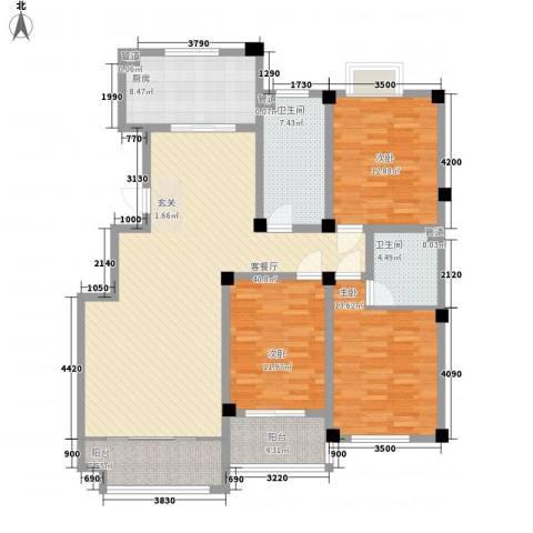 九龙山庄3室1厅2卫1厨158.00㎡户型图