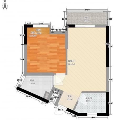 隆盛福隆花园1室1厅1卫1厨48.00㎡户型图
