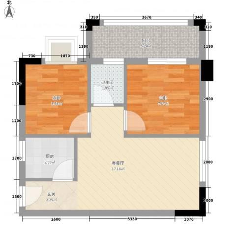 水木年华2室1厅1卫1厨58.00㎡户型图