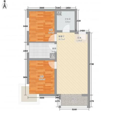 富地广场2室1厅1卫1厨77.00㎡户型图