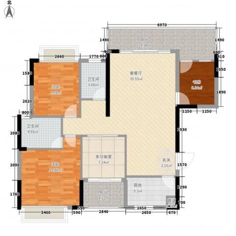 卧龙传说3室1厅2卫1厨122.00㎡户型图
