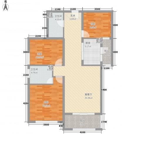 海情丽都3室1厅2卫1厨118.00㎡户型图