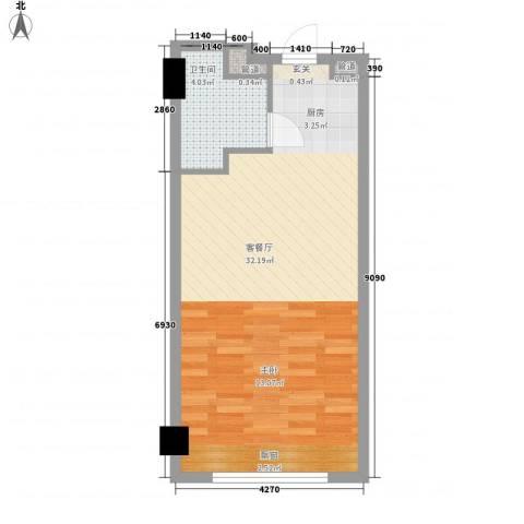 三正世纪新城1厅1卫0厨54.00㎡户型图