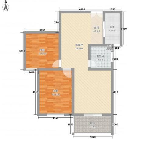 楚河花园2室1厅1卫1厨118.00㎡户型图