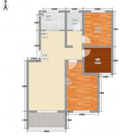 中央花园三期3室1厅1卫1厨112.00㎡户型图
