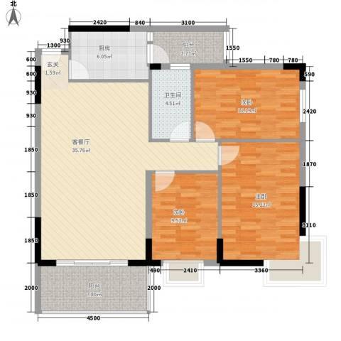 宏新富苑3室1厅1卫1厨112.00㎡户型图