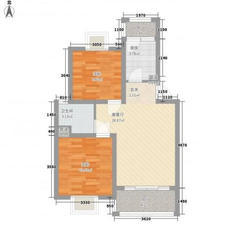吉利名苑2室1厅1卫1厨76.00㎡户型图
