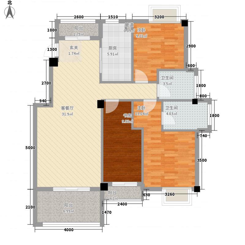 建泓・�园12.00㎡二期3/7幢01户型3室2厅2卫1厨