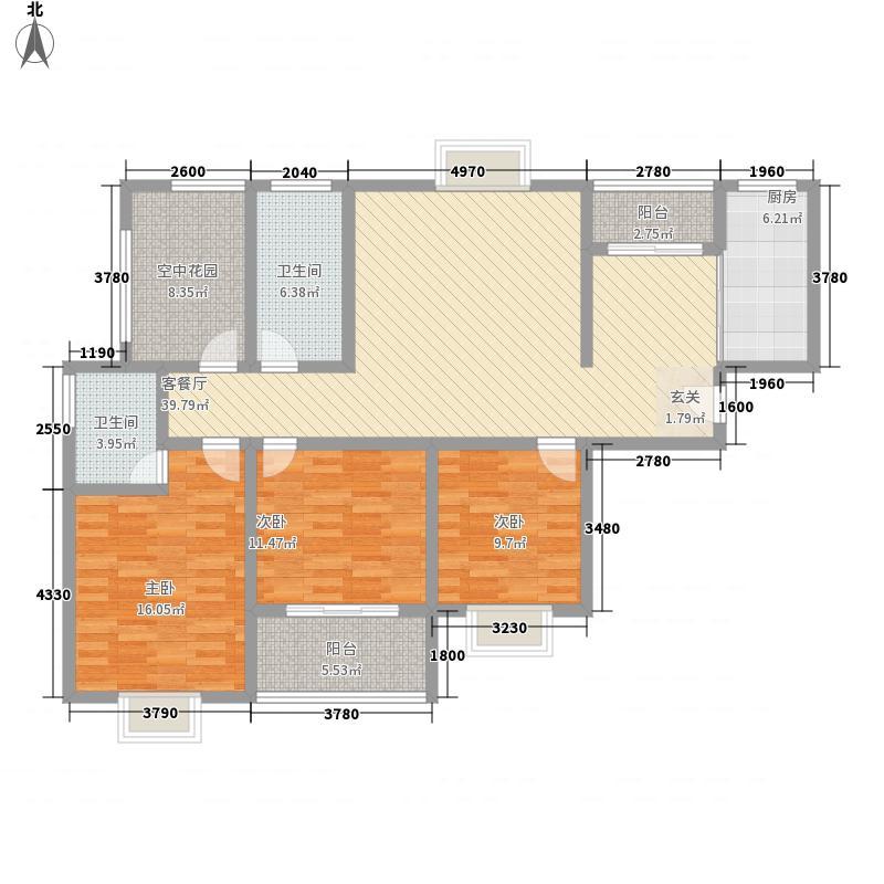 希望城158.82㎡A户型3室2厅2卫