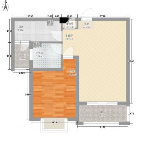 吉利名苑1室1厅1卫1厨72.00㎡户型图