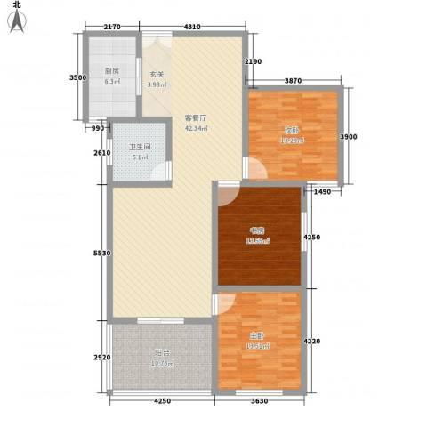 楚河花园3室1厅1卫1厨132.00㎡户型图