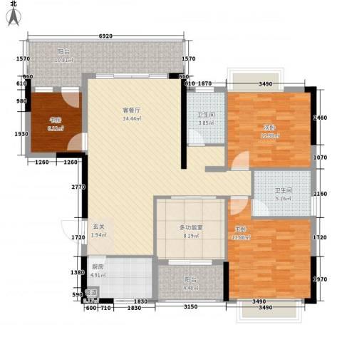 卧龙传说3室1厅2卫1厨127.00㎡户型图