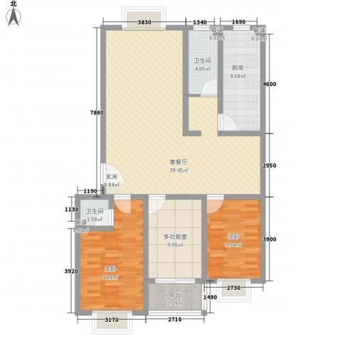 晟达家园2室1厅2卫1厨126.00㎡户型图