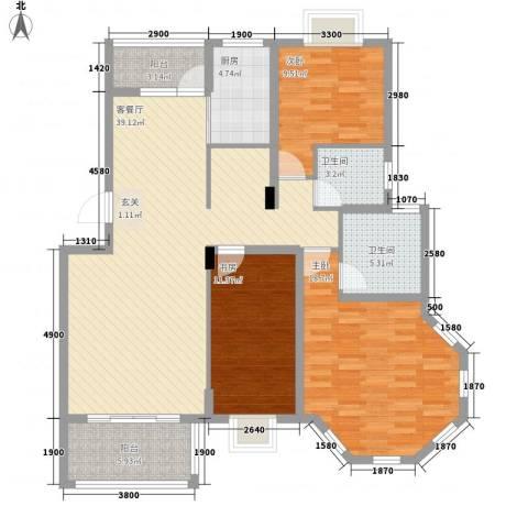 维也纳花园3室1厅2卫1厨101.02㎡户型图