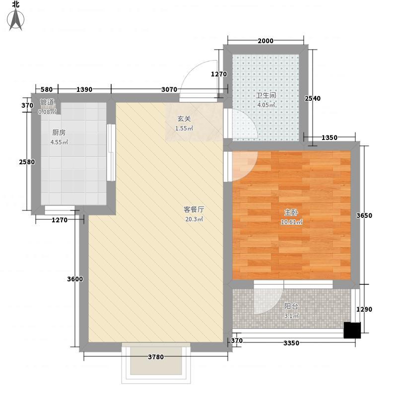 朝阳无限62.80㎡标准层D户型1室1厅1卫1厨