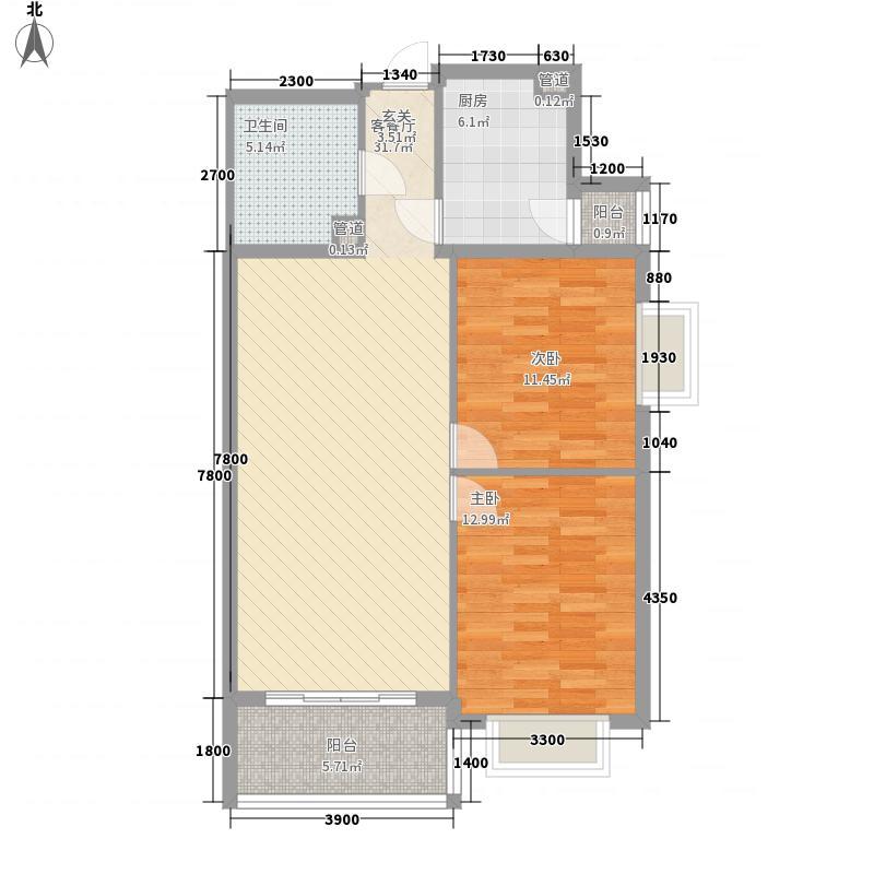 泰华滨河苑2#楼5-3户型2室2厅1卫1厨