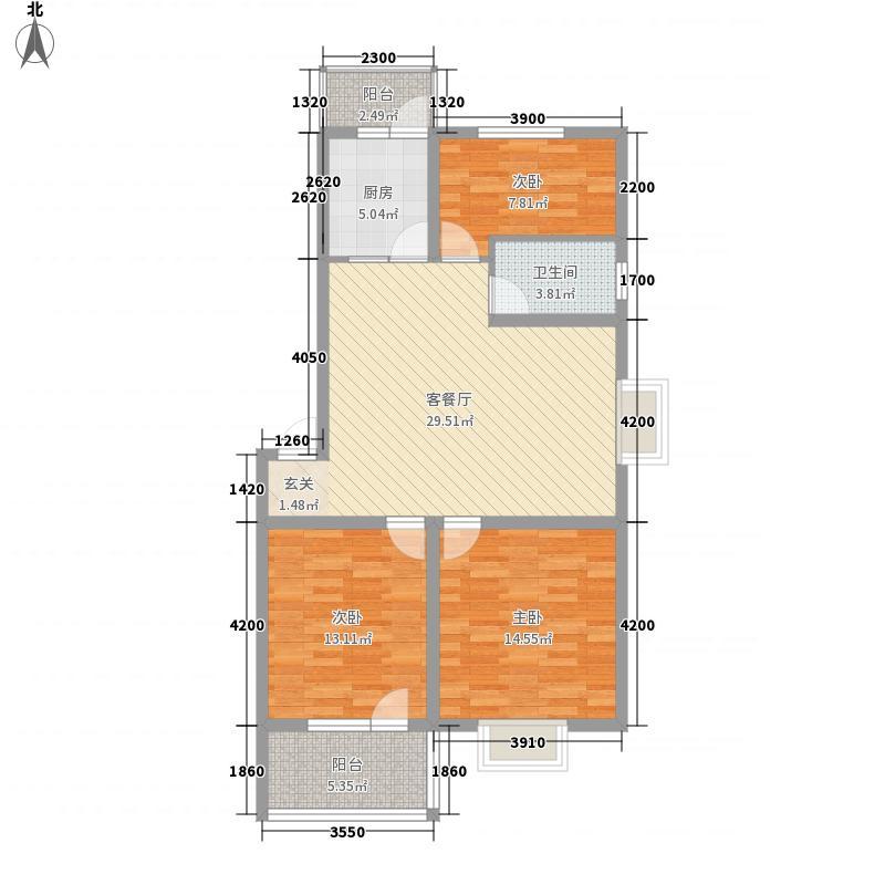 和谐家园8.70㎡G户型3室2厅1卫1厨