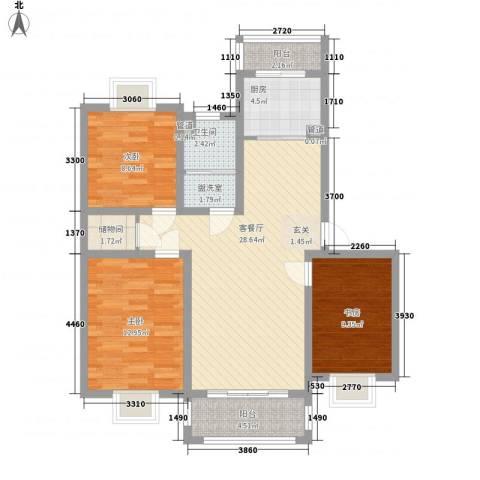 吉利名苑3室2厅1卫1厨113.00㎡户型图