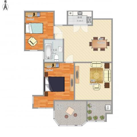 路通沁园2室2厅1卫1厨105.00㎡户型图