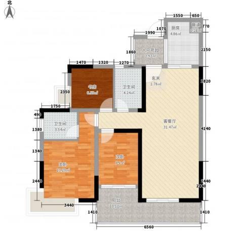 卧龙传说3室1厅2卫1厨85.32㎡户型图