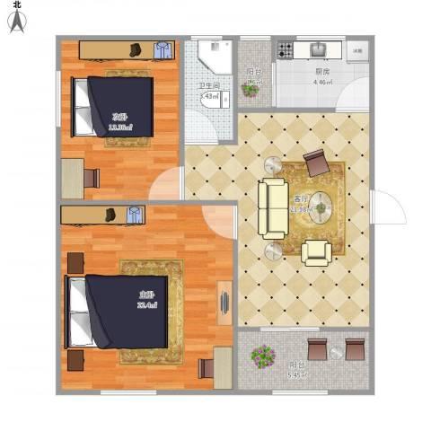 富达花园7146872室1厅1卫1厨98.00㎡户型图