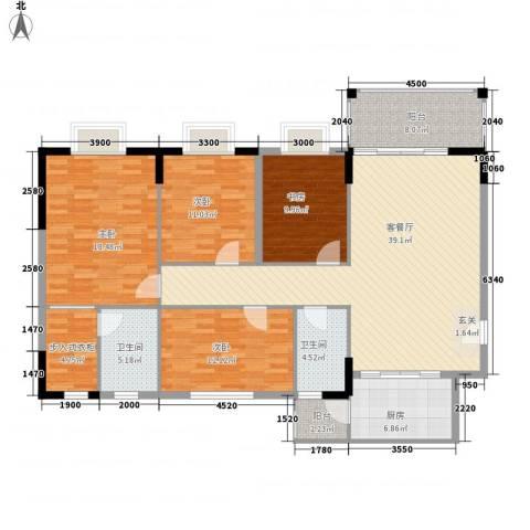 宏新富苑4室1厅2卫1厨122.30㎡户型图