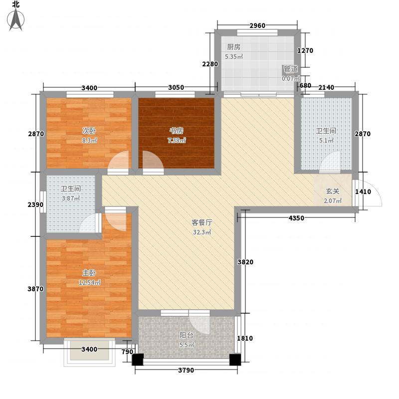 朝阳无限117.40㎡标准层B户型3室1厅1卫1厨