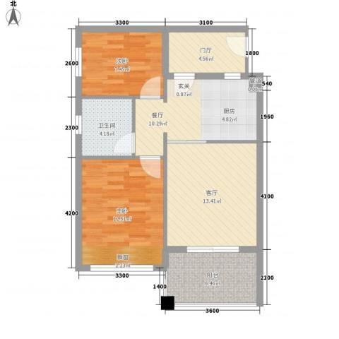 万泉明珠2室2厅1卫0厨80.00㎡户型图