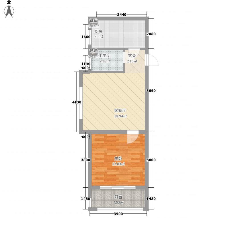 金山财富广场6.40㎡一期2号楼B户型1室1厅1卫1厨