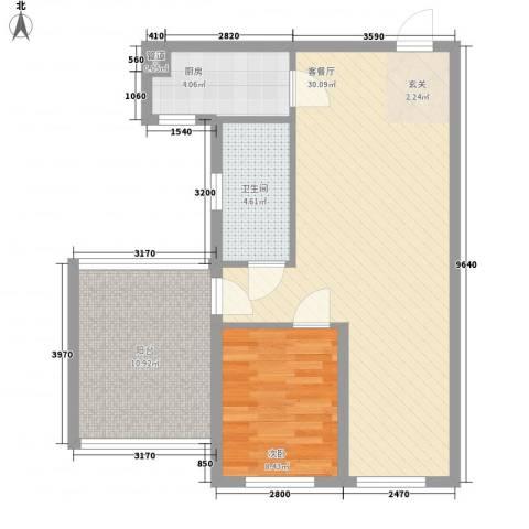 风尚国际公寓1室1厅1卫1厨82.00㎡户型图