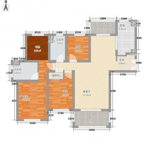城市水岸3室1厅2卫1厨108.00㎡户型图